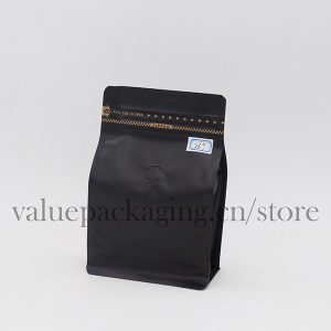 250g box bottom coffee bag matte black