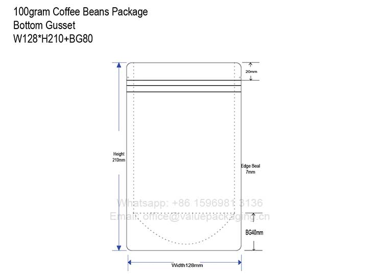 dieline-for-100grams-coffee-beans-bottom-gusseted-bag